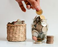 Spara pengarbesparingbegreppet, spara pengar Arkivbild