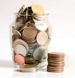 Spara pengarbesparingbegreppet, spara pengar Arkivbilder