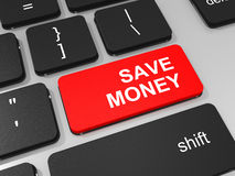Spara pengartangenten på tangentbordet av bärbar datordatoren. Royaltyfri Bild