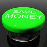 spara symbolet, som knappen avfärdar pengar Royaltyfri Fotografi
