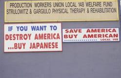 Spara tecknet för den Amerika Buyamericanen Arkivbilder