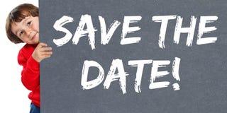 Spara ungen för barnet för information om affären för datuminbjudanmeddelandet arkivfoto