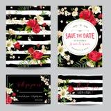 Spara uppsättningen för kortet för för datumbröllopinbjudan eller lyckönskan royaltyfri illustrationer