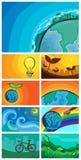 Spara uppsättningen för världsvektorbakgrund Royaltyfri Illustrationer