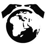 Spara världsvektorsymbolet jord sparar brown räknad dagjord som miljölövverk går den gående gröna treen för text för slogan för o Arkivbilder