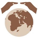 Spara världsvektorsymbolet jord sparar brown räknad dagjord som miljölövverk går den gående gröna treen för text för slogan för o Arkivbild