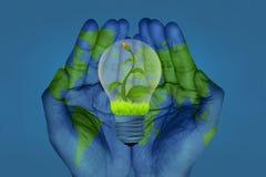 Spara vårt världs- och energibegrepp stock illustrationer