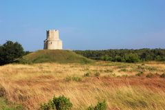 Sparad ensam liten slott på det guld- Royaltyfri Bild