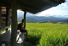 sparad och blå himmel för gräsplan Arkivbild