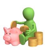 sparande för docka för pengar för grupp 3d piggy som royaltyfri illustrationer