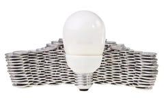 sparande för energilightbulbström Royaltyfria Bilder