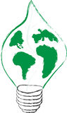 sparande för lampa för leaf för green för energi för kulabegreppseco Fotografering för Bildbyråer