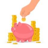 Sparande illustration för pengarbegreppsvektor Den rosa spargrisen med guld- mynt traver på bakgrund Mänsklig hand satt mynt Arkivfoto
