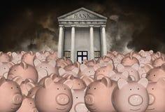 Sparande pengar, avgång, bankrörelse som investerar