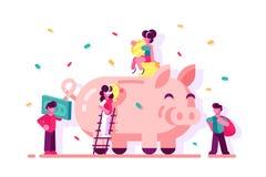 Sparande pengar för folk i spargrisen stock illustrationer