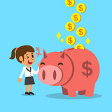 Sparande pengar för tecknad filmaffärskvinna med rosa piggy Arkivfoto