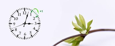 Sparande tid för dagsljus DST Väggklocka som går till vintertid Vänd tid framåt Royaltyfri Foto
