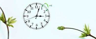 Sparande tid för dagsljus DST Väggklocka som går till vintertid Vänd tid framåt Arkivfoto
