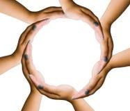 Sparandet hands cirkeln royaltyfri fotografi