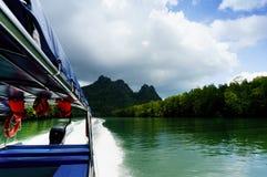 Sparato dall'interno della barca che si muove all'alta velocità su un fiume bello Fotografia Stock