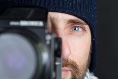 Sparato di un fotografo. Fotografia Stock