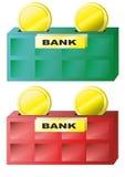 Sparbank och mynt Arkivfoto