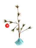 Sparce christmas tree. Sparce little christmas tree with lone christmas bulb Stock Photos