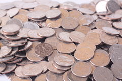 Spare Change. Pile of spare change quarters, American Currency Royalty Free Stock Photography