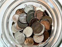 Spare change jar royalty free stock photo