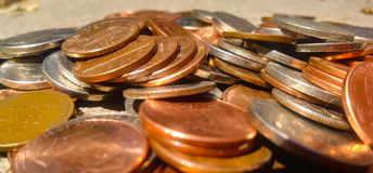 Spare change. Nickels, dimes, penny stock image