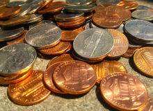 Spare change. Nickels, dimes, penny royalty free stock photo