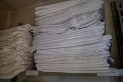 Spare hotel sheets stock photography