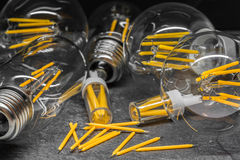 Spare LED filaments among LED light filament bulbs Royalty Free Stock Image