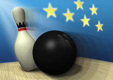 Spare Moment F. Stop action illustration close-up of bowling ball hitting pin, making spare Royalty Free Stock Photo