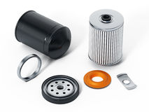 Spare new oil filter exploded perspective. 3D illustration.  Royalty Free Stock Photography