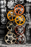 Spare part of machine valves Stock Image