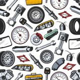 Spare parts of car and auto seamless pattern. Car spare parts seamless pattern background of auto vehicle details and accessories. Vector piston, engine and royalty free illustration