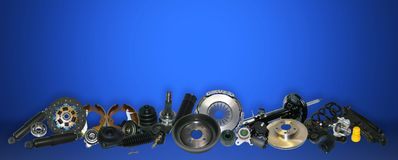 Spare parts car on the blue background set. Many auto parts are located on the edge of the image. OEM parts, auto parts for customer Royalty Free Stock Images