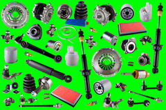 Spare parts car on the green background. Spare auto parts car on the green background. Set with many isolated items for shop or aftermarket. Chroma key Royalty Free Stock Image