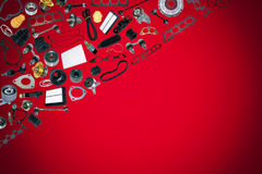 Spare parts car on the red background. Spare auto parts car on the red background. Set with many isolated items for shop or aftermarket Stock Image
