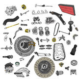 Spare parts car on the white background set Royalty Free Stock Photo