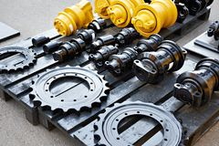 Spare parts chassis of construction machinery Stock Photos
