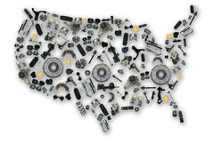 Spare parts map of america Stock Images
