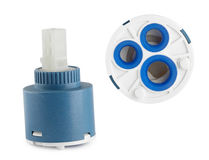 Spare parts for plumbing. Cartridge for water faucet Stock Photos