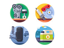 Spare parts set icons Stock Photos