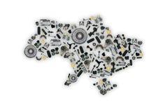 Spare parts Ukraine map for shop auto aftermarket Stock Images