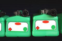 Spare petrol or fuel can container bottles Royalty Free Stock Images