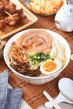 Spare-rib Ramen. Delicious Japanese spare-rib ramen on wooden table stock image