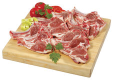 Spare Rib Roast/Spare Rib Joint/Blade Shoulder/Shoulder Butt were thinly sliced and placed on wooden cutting board Stock Image