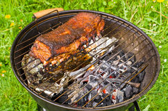 Spare ribs baked on BBQ Royalty Free Stock Images